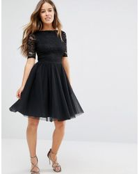 John Zack - Lace Bodice Midi Prom Dress With Cut Out Detail - Black - Lyst