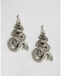 Regal Rose | Metallic Malice Huge Snake Earrings - Silver | Lyst