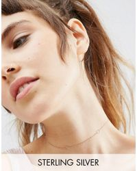 ASOS - Metallic Rose Gold Plated Sterling Silver Hexagon Choker Necklace - Lyst