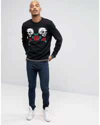 ASOS - Black Jumper With Skull And Hearts for Men - Lyst