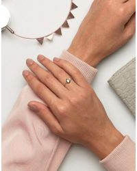 ASOS - Metallic Gold Plated Sterling Silver Open Shape Ring - Lyst