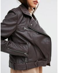 SELECTED - Brown Maya Leather Jacket - Lyst