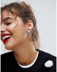 ASOS - Multicolor Asos Christmas Santa Front Back Earrings - Lyst