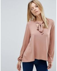 ASOS | Pink Top With Pussybow Tie And Balloon Sleeves | Lyst