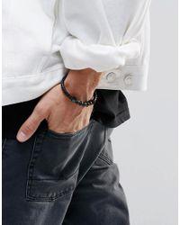 Vitaly - Black Perfen Leather & Bead Bracelet for Men - Lyst