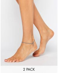 ASOS | Metallic Pack Of 2 Triangle Anklets | Lyst