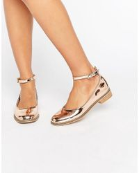 ASOS | Natural Minted Flat Shoes | Lyst