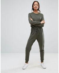 New Look - Green Sweat Jumpsuit - Lyst