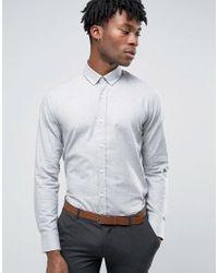 Original Penguin   Gray Formal Flannel Shirt for Men   Lyst