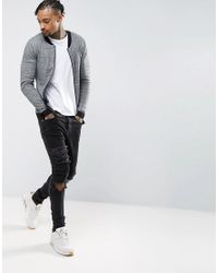ASOS DESIGN - Knitted Cotton Bomber With Contrast Trims In Gray Twist for Men - Lyst