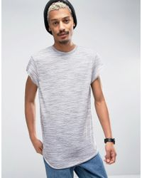 ASOS | Gray Super Longline T-shirt In Grey Inject Fabric With Curved Hem And Cap Sleeve for Men | Lyst