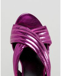 New Look   Pink Metallic Cross Strap Heeled Mule   Lyst