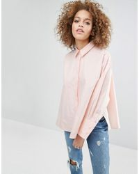 ASOS | Pink Oversized Cotton Shirt With Split Sides | Lyst
