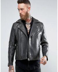 ASOS   Faux Leather Biker Jacket In Black for Men   Lyst