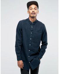 ASOS | Regular Fit Super Longline Denim Shirt With Mini Collar In Black Overdye for Men | Lyst