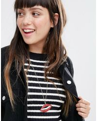 Monki - Lip Necklace - Red - Lyst
