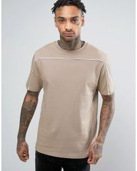 ASOS   Natural Oversized Short Sleeve Sweatshirt With Piping for Men   Lyst