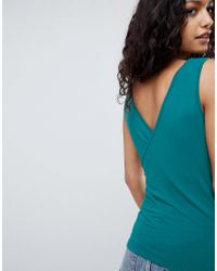 ASOS DESIGN - Green Top With Wrap Front And Back - Lyst