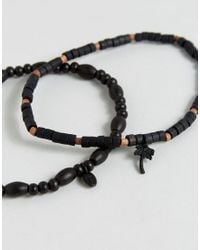 Classics 77 | Black Beaded Anklets In 2 Pack | Lyst