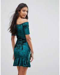 Oh My Love - Green Velvet Off Shoulder Pephem Dress - Lyst