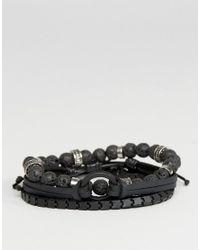 ALDO | Matte Black Bracelets In 4 Pack for Men | Lyst