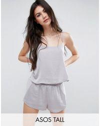 ASOS | Metallic Chiffon Side Satin Cami & Short Pyjama Set | Lyst