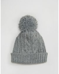 Warehouse - Gray Cable Knit Beanie Hat - Grey - Lyst