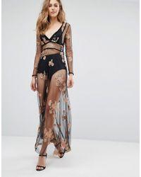Boohoo | Black Embroidered Mesh Sheer Maxi Dress | Lyst