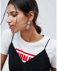 Pieces - Metallic Ronalda Gem Cluster Earrings - Lyst