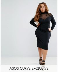 ASOS | Black High Neck Bodycon Midi Dress With Mesh And Strapping | Lyst