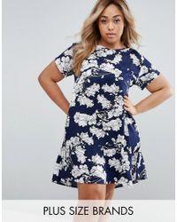 AX Paris | Blue Plus Swing Dress In Floral Print | Lyst