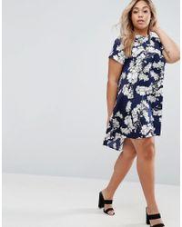 AX Paris - Blue Plus Swing Dress In Floral Print - Lyst