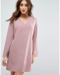 ASOS | Pink Plunge Neck A-line Mini Dress | Lyst