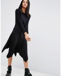ASOS   Black Hanky Hem Midi Slouch Dress   Lyst