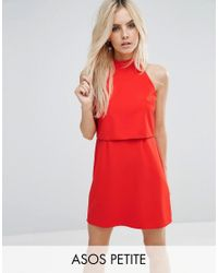 ASOS | Red Mini Dress With Crop Top Layer And High Neck | Lyst