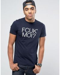 French Connection | Blue Fcuk Moi T-shirt for Men | Lyst