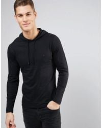French Connection | Black Hooded Long Sleeve T-shirt for Men | Lyst