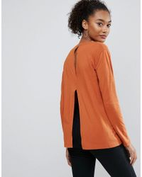 ASOS | Red T-shirt With Split Back And Long Sleeve | Lyst