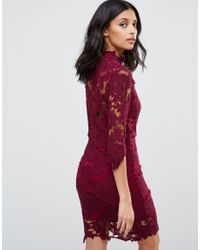 Club L - Black High Neck Crochet Lace Detail Pencil Dress - Lyst