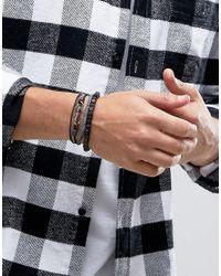 Icon Brand - Combo Bracelet Pack In Black/grey for Men - Lyst