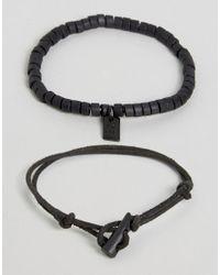 Icon Brand | Black Cord & Beaded Bracelets In 2 Pack for Men | Lyst