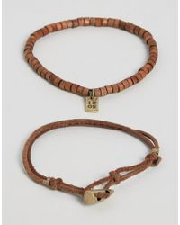 Icon Brand | Brown Cord & Beaded Bracelets In 2 Pack for Men | Lyst