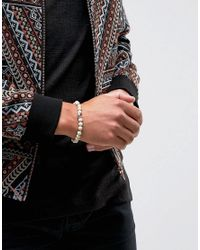 Icon Brand - Natural Skull Beaded Bracelet In Cream for Men - Lyst