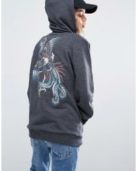 RVCA | Black Oversized Boyfriend Hoodie With Phoenix Back Graphic | Lyst