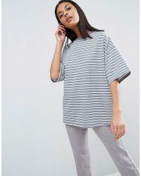 ASOS   Multicolor Short Sleeve Oversized Stripe Top In Baby Loop Back   Lyst
