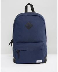 ASOS | Blue Backpack In Navy Canvas With Faux Leather Base for Men | Lyst