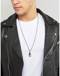 ASOS   Necklace In Matte Black With Stone for Men   Lyst