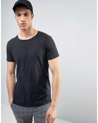 Solid | Black T-shirt In Oil Wash With Raw Neckline for Men | Lyst