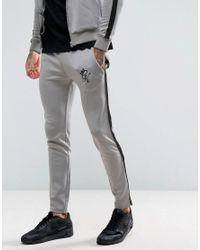 Gym King - Gray Track Skinny Joggers In Grey With Black Stripe for Men - Lyst