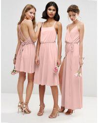 ASOS - Pink Wedding Crepe Cross Back Midi Dress - Lyst